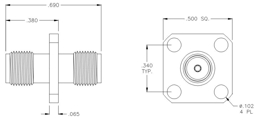 3145- SMA Straight Female (Jack) to Female (Jack) 4 Hole Flange RF Adapter