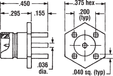 Straight Male Receptacle Printed Circuit (Nickel)